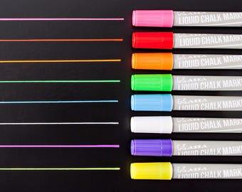 Chalk Markers (10 Fluorescent Colors) Erasable Chalkboard Paint Marker  - Chalk Board Ink - Blackboard Pen