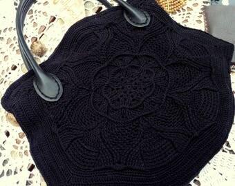 Black Handbag, Crochet Black Small Tote Bag, Leather Handle, Middle Sized Bag, Summer Bag, Evening Bag for Her, Perfect Gift for Her