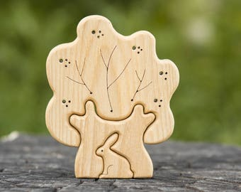 Tree and rabbit Puzzle. Wooden Puzzle. Waldorf Toy. Montessori Toy for Baby and Toddler. Educational Toy. Handmade Eco-Friendly Toy.