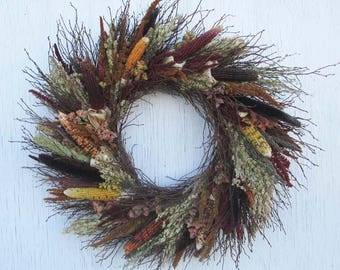 rustic ornamental corn, twig, and dried flower wreath/rustic twig and dried flower wreath/warm earthtones dried flower wreath/rustic wreath