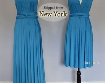 Turquois party dresses, infinity dress, convertible wrap dress, formal dress, short multi wear dress, twist wrap, long gown
