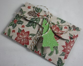 Christmas Gift Card Money Holders Pack of 4 Different Designs Includes Tags And Twine Handmade Great for Cash Or Small Flat Gift Poinsettias