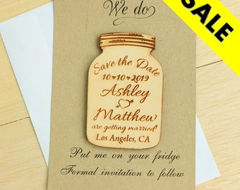 Mason Jar save the date magnet with card and envelope wedding save the date wood save the date rustic save the date unique custom save date