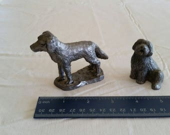 2 vintage heavy pewter dog figurines 1980's  - sheepdog and setter retriever figures - metal puppy statues - home decor canine art kennel