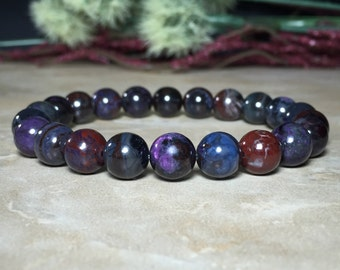 8.5mm Genuine South African Sugilite Bracelet, Healing Bracelet, Positive thoughts and feelings, Channeling ability, Opens the chakras
