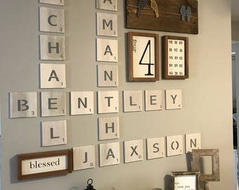 Large Scrabble Tiles/FREE SHIPPING/Scrabble Tiles Wall Art/Scrabble/Scrabble Letters/Scrabble Wall Art/Scrabble Wall Tiles/Large Letter Tile