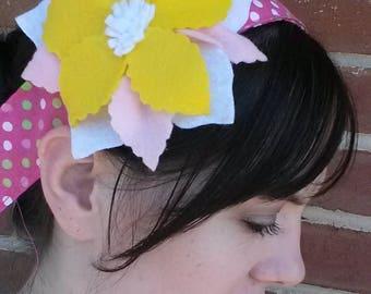 Flower headband: pink, yellow and white