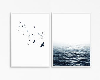Pair of posters. Blue ocean photography . Blue birds photography. Nature poster. Sea, ripples photo.  Instant download