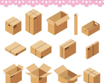 Isometric Cardboards Boxes Clipart, PNG Digital graphics Great for Icons, Planner Stickers, scrapbooking. Commercial Use OK