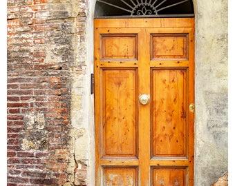 Door Photography, Siena Italy, Italy Architecture Print, Brass Door  Knocker, Brick,