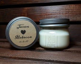 12 - 4 oz Wedding Candles - Personalized Wedding Favors - Soy Candles Handmade - Bridal Shower Favors  - Mason Jar Candles - Rustic Wedding