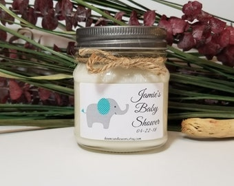 8oz Baby Shower Candles - Baby Girl or Baby Boy Shower - Elephant Theme - Baby Shower Favors - Baby Shower Prizes - Soy Candles
