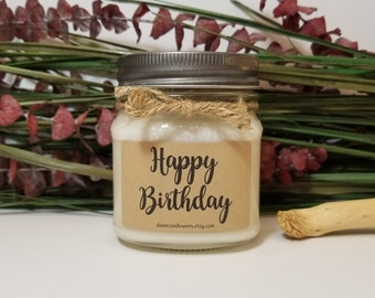 8oz Happy Birthday Candles - Soy Candles Handmade - Birthday Gift for Him - Birthday Gift for Her - Personalized Soy Candles - Coworker Gift