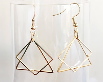 Geometric Drop Earrings Square Triangle ( Rose Gold / Silver ) / Geometrique Minimalist Boucles d'Oreille / Gift Idea / For Minimalist