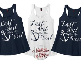 Last Sail Before The Veil, Anchor, Nautical, Bridal Party Tanks, Women's Racerback Tank Top in 9 Colors in Sizes Small-4X, Plus Size