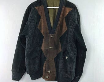 VINTAGE • High quality leather jacket knitted  • M • Suede jacket • Knit cardigan • Black • Brown • LEATHER • Leather jacket