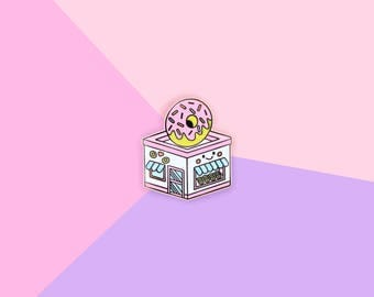 Pastel Donut Shop - Gold Hard Enamel Kawaii Lapel Pin