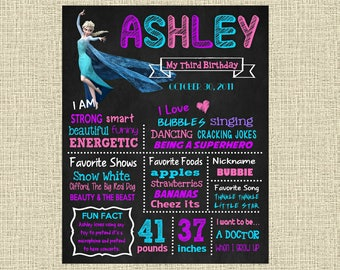 Frozen Birthday Chalkboard Poster - Disney Princess Elsa Wall Art design - Birthday Party Poster Sign - Any Age