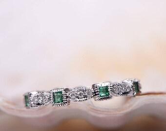 Milgrain Emerald Diamond Wedding Band 14k White Gold FULL Eternity Ring Engagement Stacking Matching
