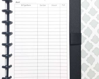 Bill Tracker, Bill Pay, Bills Inserts for Discbound Planners, ARC Junior, TUL, 8-Disc Planners