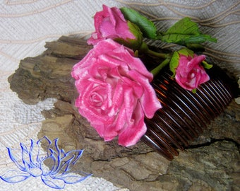 Hair comb with rose,rose and buds,pink,rose comb, hair accessory,for unmarried work,author's accessory,cold porcelain
