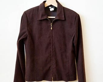 70s brown velvety zip up track jacket, size small