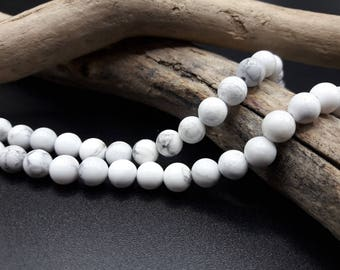 40 Howlite beads - 6 mm - natural White Pearl - beads Howlite 6 mm - A200