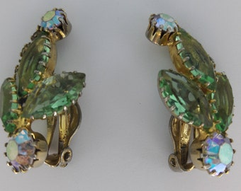 Mint Green and Aurora Borealis Rhinestone Vintage Gold Plated Clip On Earrings
