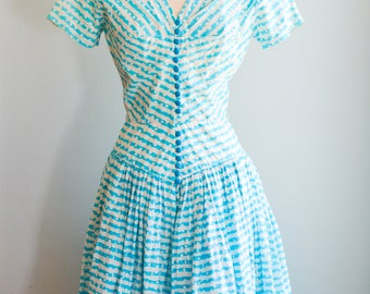 1950's Novelty Print Spring Party Dress by R&K Originals/waist 26""