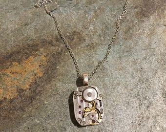 Steampunk Industrial Style Pendant, With Vintage Watch Parts And Silver Coloured Chain