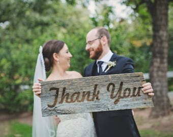 Thank You Sign   made with reclaimed wood and engraved using your favorite font