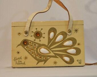 1960s Vintage Enid Collins of Texas Bird in Hand Jeweled Wooden Purse Clutch Handbag