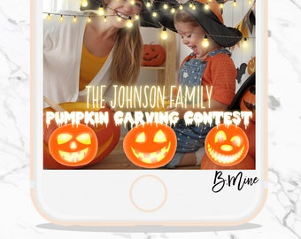 HALLOWEEN SNAPCHAT FILTER, Pumpkin Snapchat, Fall Snapchat, Pumpkin Carving, Carving Contest, Halloween Snapchat Geofilter, Halloween Party