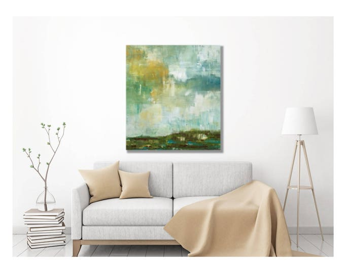 Abstract Landscape Painting -- Modern Abstract Impressionist Landscape in Green, Large Wall Art, Large Abstract Painting, Atmospheric Art