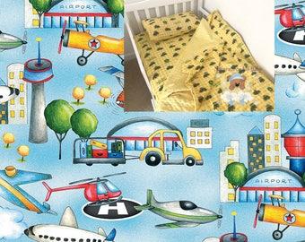 Plane Toddler Bedding Set Airplane Toddler Blanket Plane Fitted Sheet Pillow Case 100% Cotton Airport Toddler Bedding