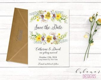 Yellow Gray Flowers Save the Date Invitation Summer Wedding Bohemian Grey Bridal Boho Floral Digital Invite Printable Rustic Card - WS020