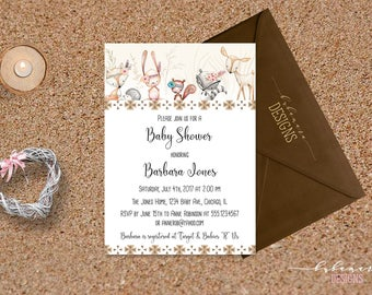 Woodland Animals Baby Shower Invitation Tribal Baby Shower Invite Forest Animals Deer Fox Gender Neutral Baby Shower Invite - CS027