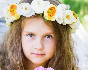Flower crown flower headband floral crown flower headpiece wedding crown flower girl wedding flower crown flower diadem  flower girl wreath