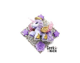 Recycling toy - little pony, Unicorn - kawaii brooch