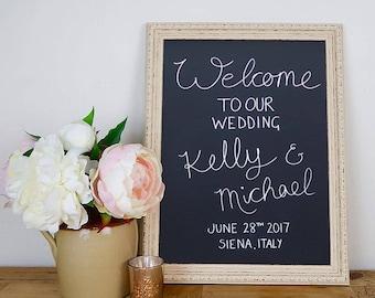 Wedding Chalkboard Frame, Cream, Framed Chalkboard, Wedding Welcome Sign, Wedding Menu, Custom Wedding Sign, Vintage, Venue Decor, Two sizes