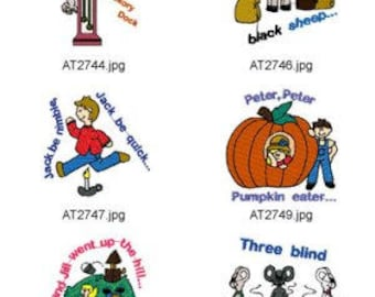 Nursery Rhymes ( 14 Machine Embroidery Designs from ATW ) XYZ17F