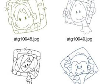 Redwork-Cute-Halloween-Blocks ( 7 Machine Embroidery Designs from ATW ) XYZ17H