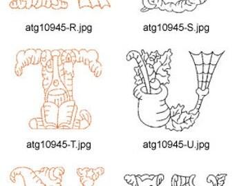 Redwork-Halloween-Alphabet-2 (N-Z) ( 13 Machine Embroidery Designs from ATW ) XYZ17H