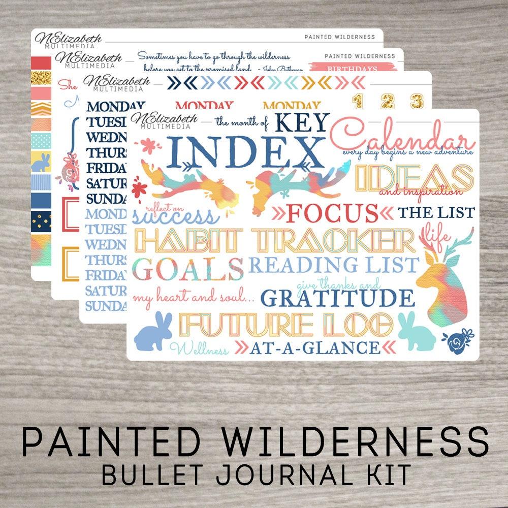 painted wilderness bullet journal kit bujo stickers. Black Bedroom Furniture Sets. Home Design Ideas