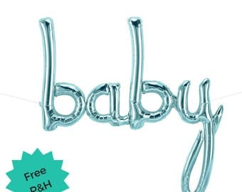 Pastel Blue Baby Balloon Script Word Baby Shower Party Decoration Balloon Banner