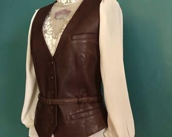 Ralph Lauren Leather Vest. Vintage Leather Vest. Fitted Vest. Brown Leather Vest. Ralph Lauren Vest. Ladies Vest. Western Vest. NWT