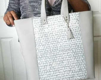 Gray Tote Bag, Gray Faux Leather Bag, Crossbody Bag, Work Bag, Diaper Bag, Shoulder Bag, Travel Bag, Laptop Bag, Large Purse, Large Handbag
