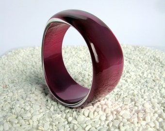 MOD / MOON GLOW / Lucite Bangle / Chunky Bangle Bracelet / Fuchsia / Purple / Plum / Statement Bangle/ Cuff / Irregular/ Asymmetrical / Mint