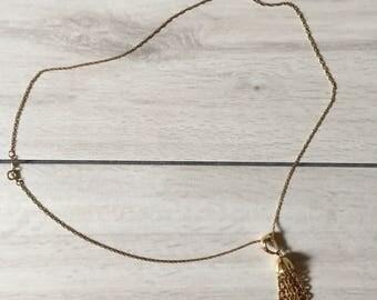 golden tassel necklace || 70s gold plated fringe pendant necklace