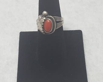 Vintage Navajo Sterling Silver and Red Coral Leaf Ring